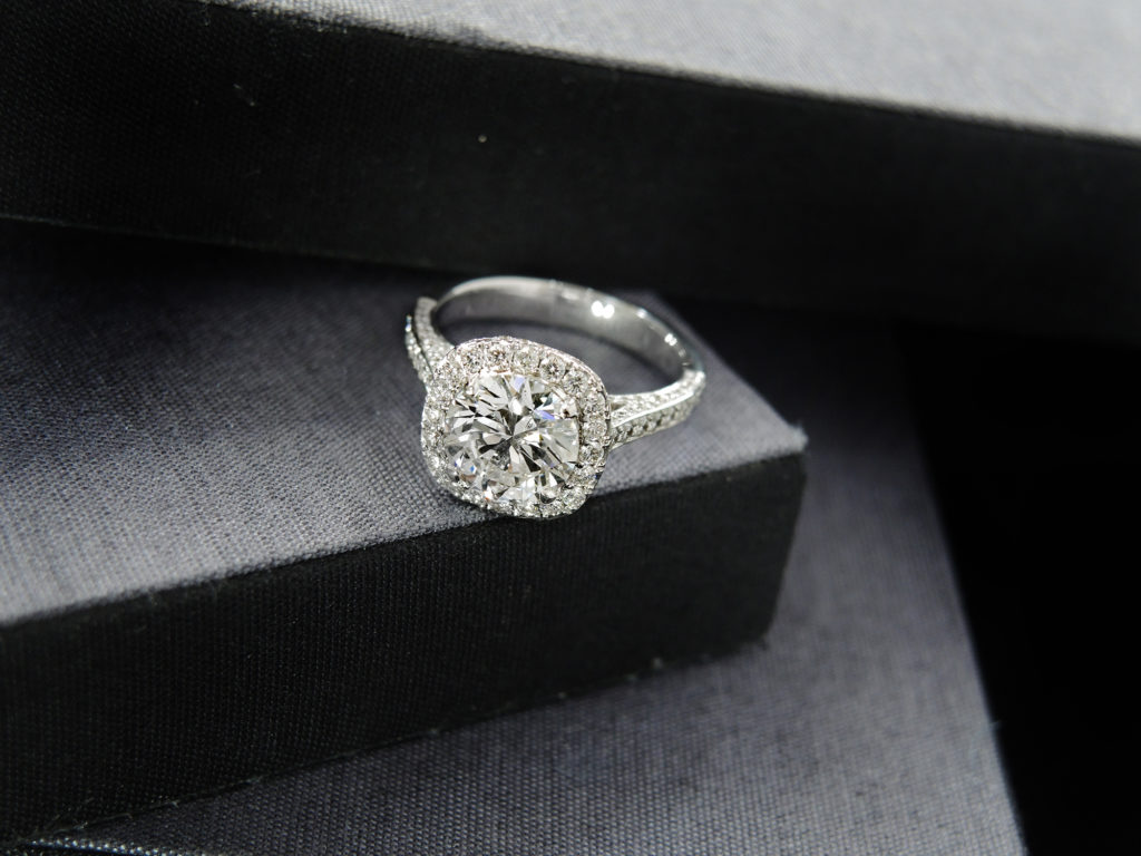 Diamond ring on platform