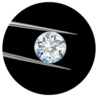 Loose diamond in tweezers