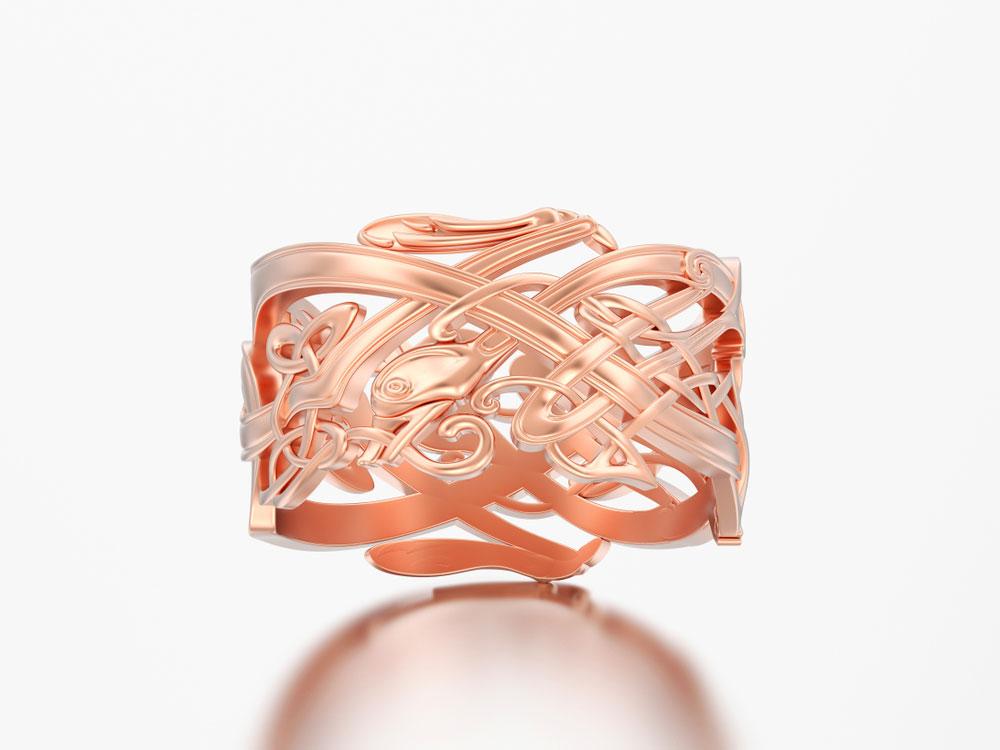 A unique rose-gold engagement ring.