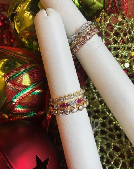 Stackable engagement rings with Christmas background