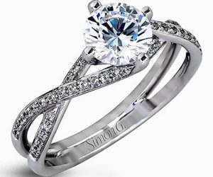 Simon G Twist Diamond Engagement Ring